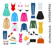 women's clothes set vector... | Shutterstock .eps vector #1445069906