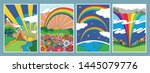 vintage psychedelic art... | Shutterstock .eps vector #1445079776