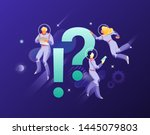 astronauts with exclamation and ... | Shutterstock .eps vector #1445079803