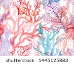 Watercolor Corals. Seamless...