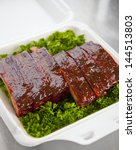 Fresh bbq ribs in a box