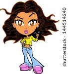 urban ethnic girl with attitude ... | Shutterstock .eps vector #144514340