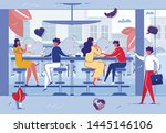 people relaxing in cafe or... | Shutterstock .eps vector #1445146106