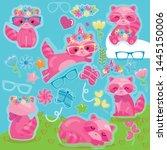 lovely pink raccoon vector... | Shutterstock .eps vector #1445150006