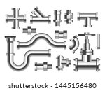 pipes and tubes plumbing and... | Shutterstock .eps vector #1445156480