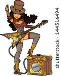 sexy steampunk rocker with... | Shutterstock .eps vector #144516494