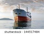 Large Cargo Ship At Sea ...