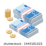 isometric stacks of 20 euro... | Shutterstock .eps vector #1445181323