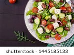 greek salad with fresh... | Shutterstock . vector #1445185133