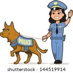Police Dog and Asian Female Police Officer - stock vector