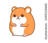 Stock vector cute kawaii hamster drawing funny cartoon pet vector clip art illustration 1445210660