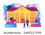 Stock vector students interacting with each other making friends at university college campus tours 1445217299