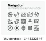 navigation icons set. ui pixel...