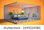 interior of the bedroom in a...   Shutterstock . vector #1445224580