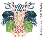 hawaii summer print with... | Shutterstock .eps vector #1445224646