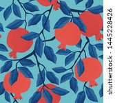pomegranate leaf seamless... | Shutterstock .eps vector #1445228426
