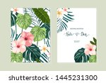 floral set with peach hibiscus... | Shutterstock .eps vector #1445231300