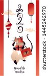 chinese happy new year 2020.... | Shutterstock .eps vector #1445242970