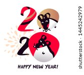 chinese happy new year 2020.... | Shutterstock .eps vector #1445242979