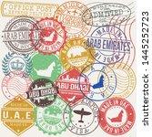 abu dhabi uae. set of stamps....   Shutterstock .eps vector #1445252723