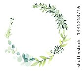 frame from leaves. watercolor... | Shutterstock . vector #1445253716