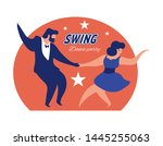 swing dance couple with stars... | Shutterstock .eps vector #1445255063