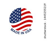 made in usa circle badge or... | Shutterstock .eps vector #1445255219