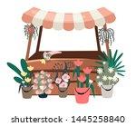 flowers market stall flat... | Shutterstock .eps vector #1445258840