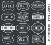 sushi premium quality stamp.... | Shutterstock .eps vector #1445260553