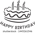 doodle cake and happy birthday  ... | Shutterstock .eps vector #1445261546