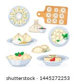 set of realistic dishes from...