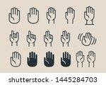 hand gesture vector flat line... | Shutterstock .eps vector #1445284703