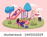 happy kids having fun sliding... | Shutterstock .eps vector #1445310329
