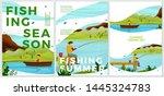 vector summer posters set  ... | Shutterstock .eps vector #1445324783