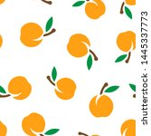 apricot fruit icon seamless... | Shutterstock .eps vector #1445337773