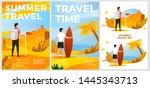 vector summer leisure posters... | Shutterstock .eps vector #1445343713