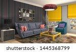 interior of the living room. 3d ... | Shutterstock . vector #1445368799