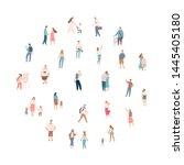 crowd of people. men and women... | Shutterstock .eps vector #1445405180