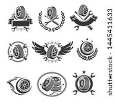 car wheels labels and elements... | Shutterstock .eps vector #1445411633
