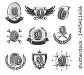 car wheels labels and elements... | Shutterstock .eps vector #1445411636
