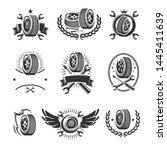 car wheels labels and elements... | Shutterstock .eps vector #1445411639