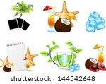 summer beach vector icons | Shutterstock .eps vector #144542648