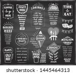 chalkboard menu for cafe or... | Shutterstock .eps vector #1445464313