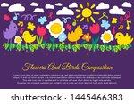 birds and flowers flat banner... | Shutterstock .eps vector #1445466383