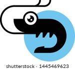 shrimp black silhouette vector... | Shutterstock .eps vector #1445469623