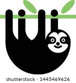 sloth black silhouette vector... | Shutterstock .eps vector #1445469626