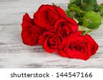 Stock photo beautiful bouquet of roses on table close up 144547166