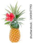 large ripe pineapple  just cut... | Shutterstock . vector #144547793