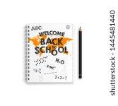 back to school. notebook mockup ... | Shutterstock .eps vector #1445481440