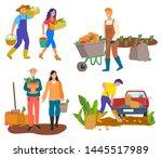 man on field plantation of... | Shutterstock .eps vector #1445517989